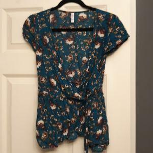 EUC wrap front floral blouse